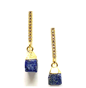 CZ bar with Rough Cut Lapis Earrings
