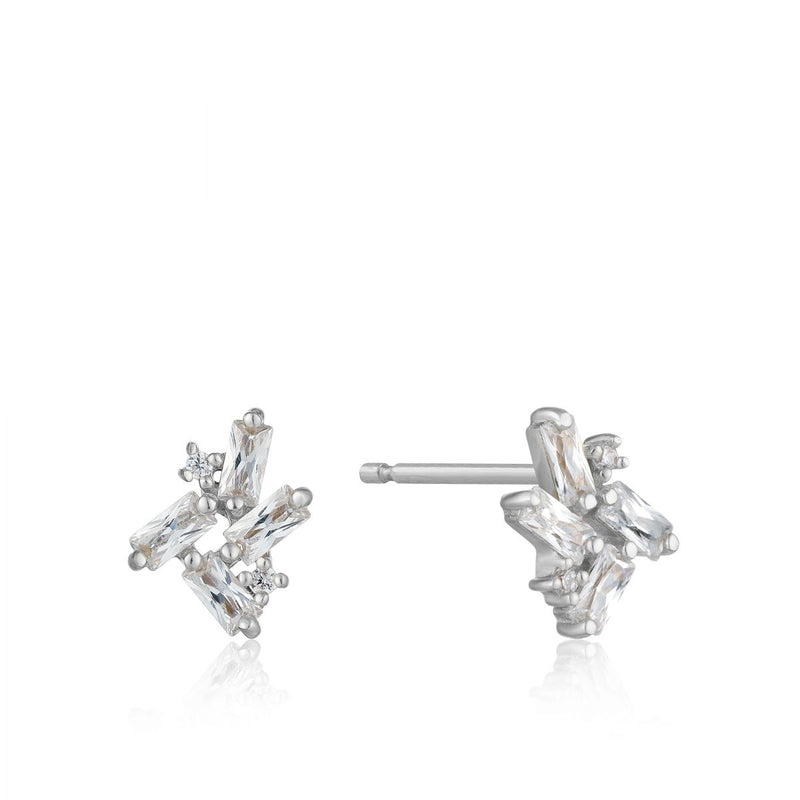 Cluster Silver Stud Earrings