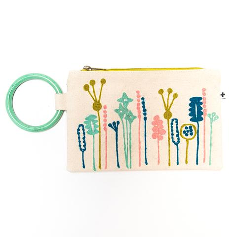 Fleur Embroidered Canvas Bangle Clutch