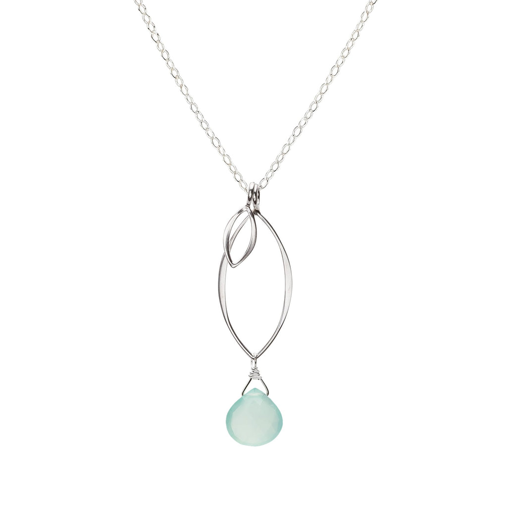 Ella Small Leaf Fringe Aqua Chalcedony Necklace