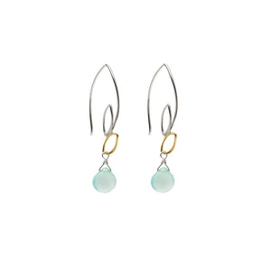 Ella Small Leaf Hook Two Tone Aqua Chalcedony Earrings