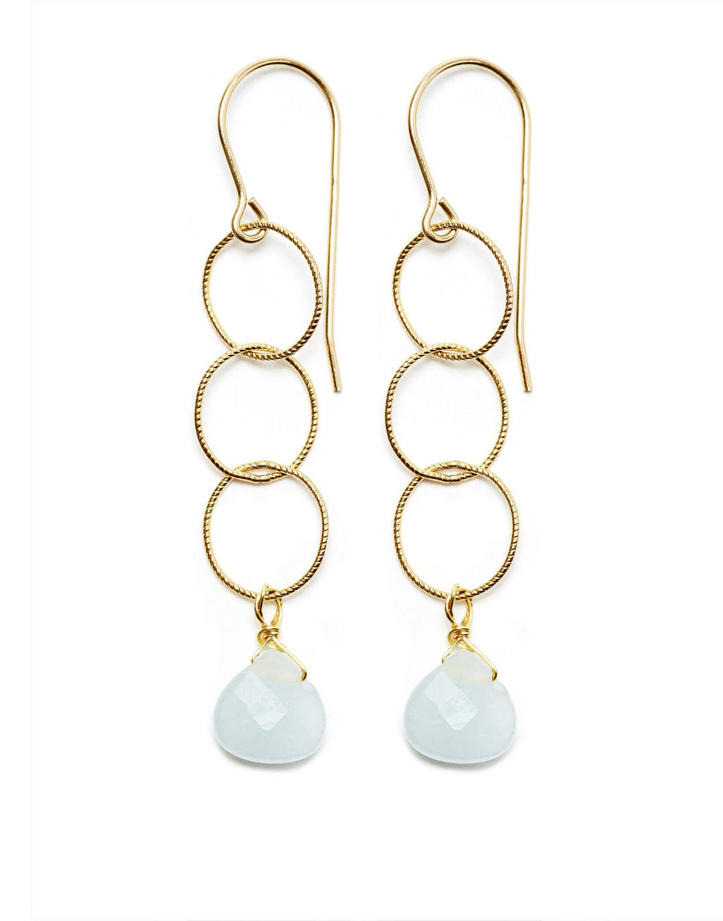 Elsa Earrings - Gold / Aquamarine