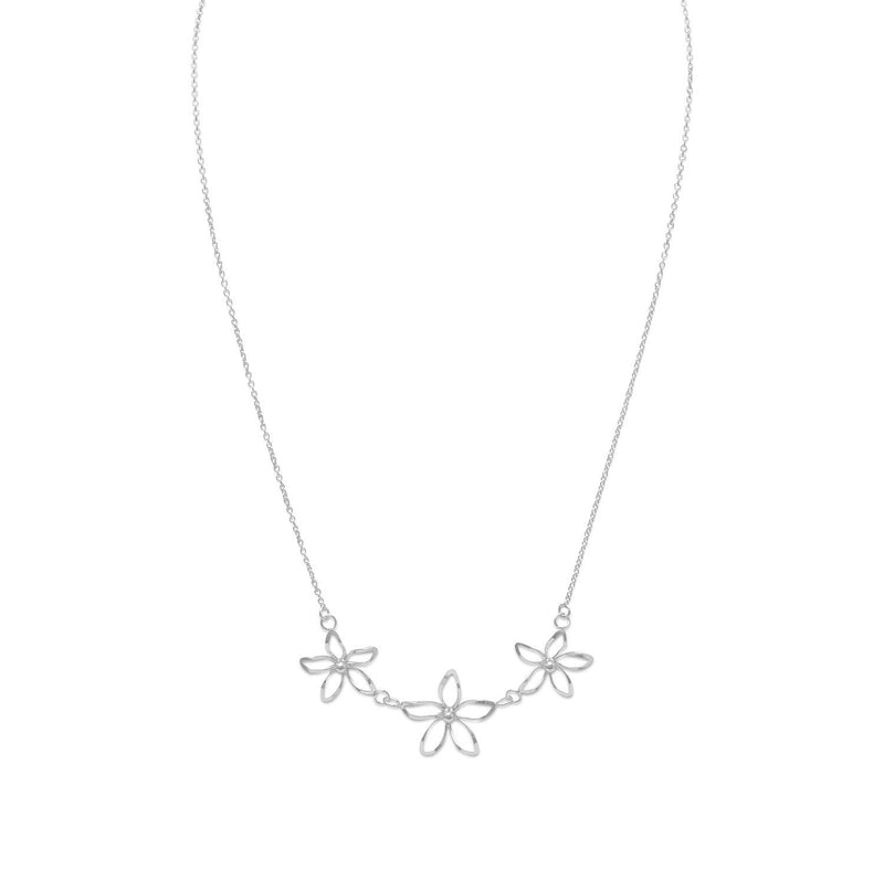 Diamond Cut Silver Flower Necklace