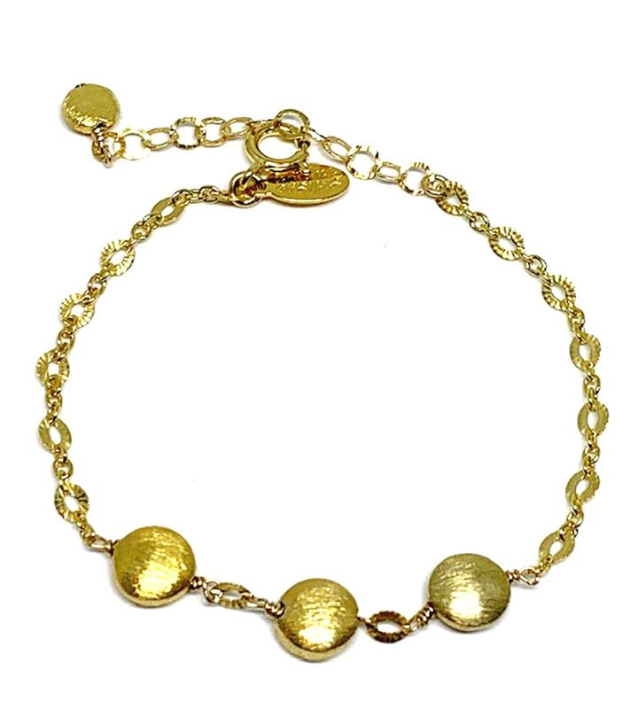 Brushed Bead Gold Bracelet