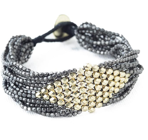 Gunmetal and Gold Beaded Bracelet