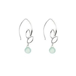 Ella Small Leaf Hook Earrings with Aqua Chalcedony