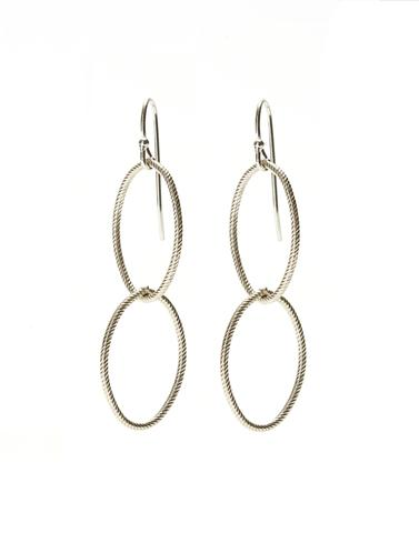 Double Twisted Silver Earrings
