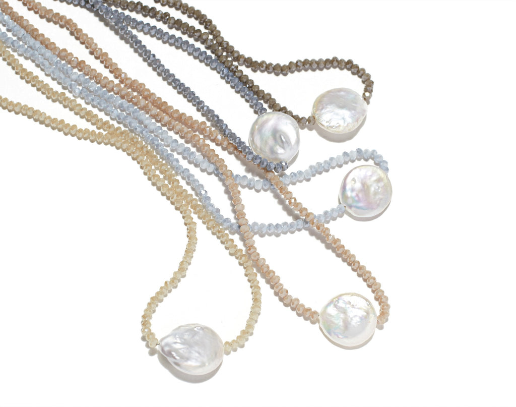 Petra Coin Necklace, Nude Crystals / Coin Pearl