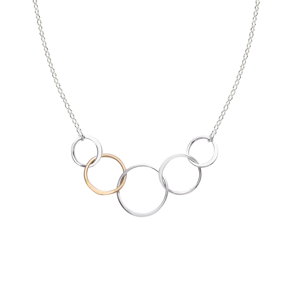 Cynthia Small Five Gold & Silver Linked Circle Necklace