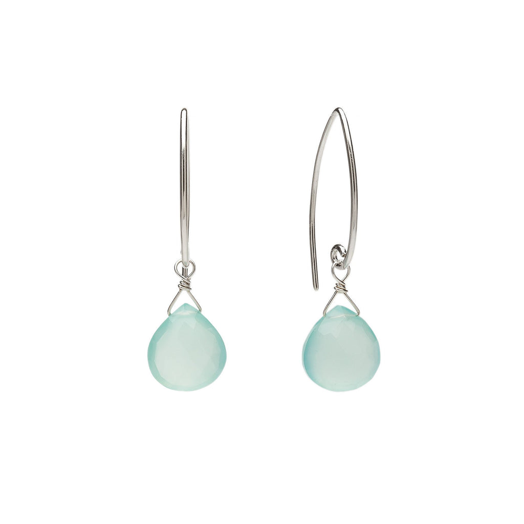 Ella Gem Aqua Chalcedony Earrings