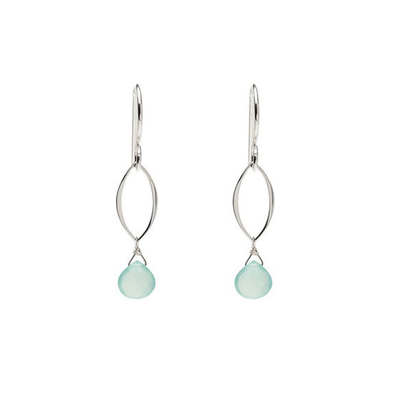 Ella Mini Leaf Earrings with Aqua Chalcedony