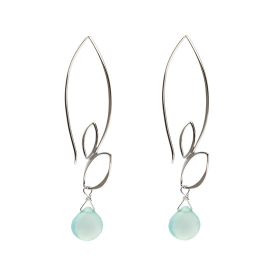 Ella Large Leaf Hook Earrings with Aqua Chalcedony