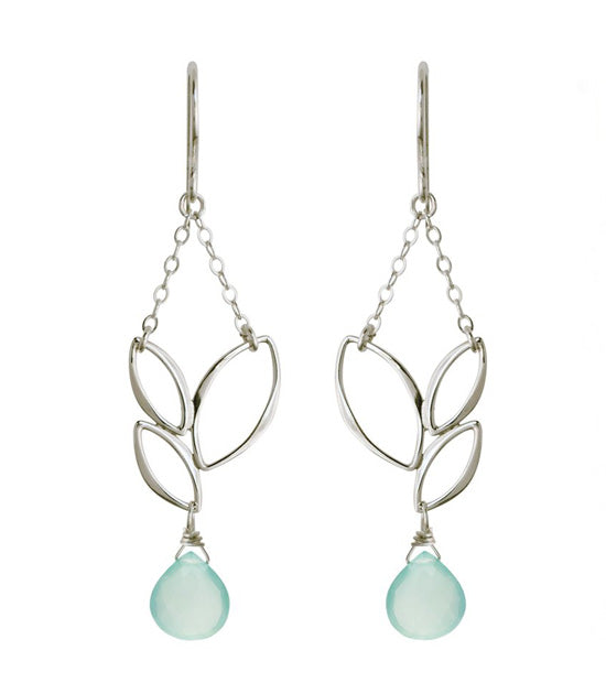 Ella Three Leaf Chandelier Earrings with Aqua Chalcedony