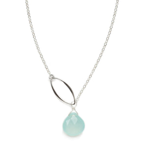 Ella Singe Leaf Aqua Chalcedony Necklace