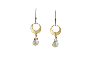 Labradorite Circle Crescent Earrings