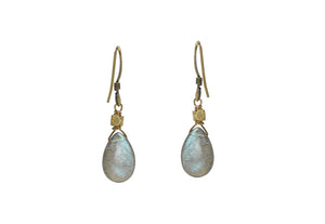 Smooth Labradorite with Brass Bead Earrings