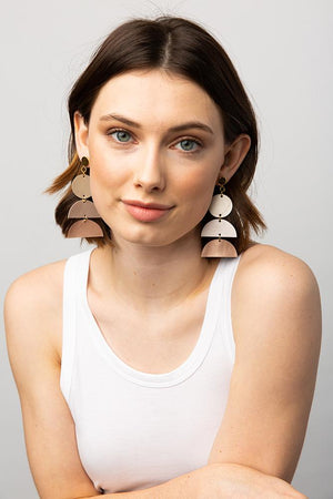 Rose Gold Ombre Half-Circles Leather Earring