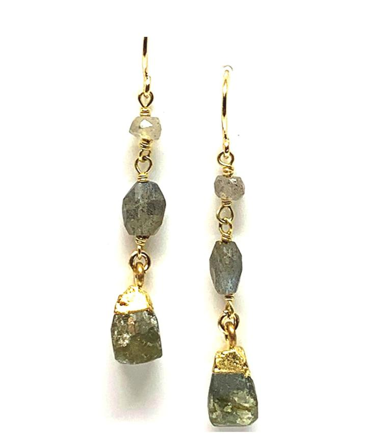Rough Cut Labradorite Chain Earrings