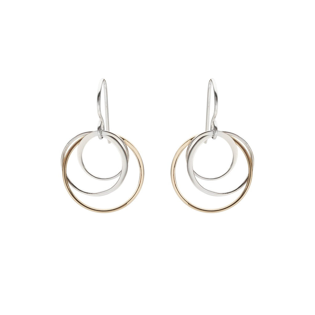 Cynthia Gold & Silver Peony Circle Earrings
