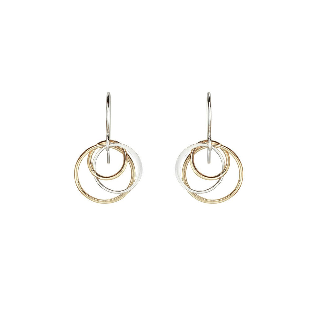 Cynthia Small Gold & Silver Three Circle Cluster Earrings