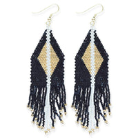 Black With Gold Luxe Diamond With Fringe Earring