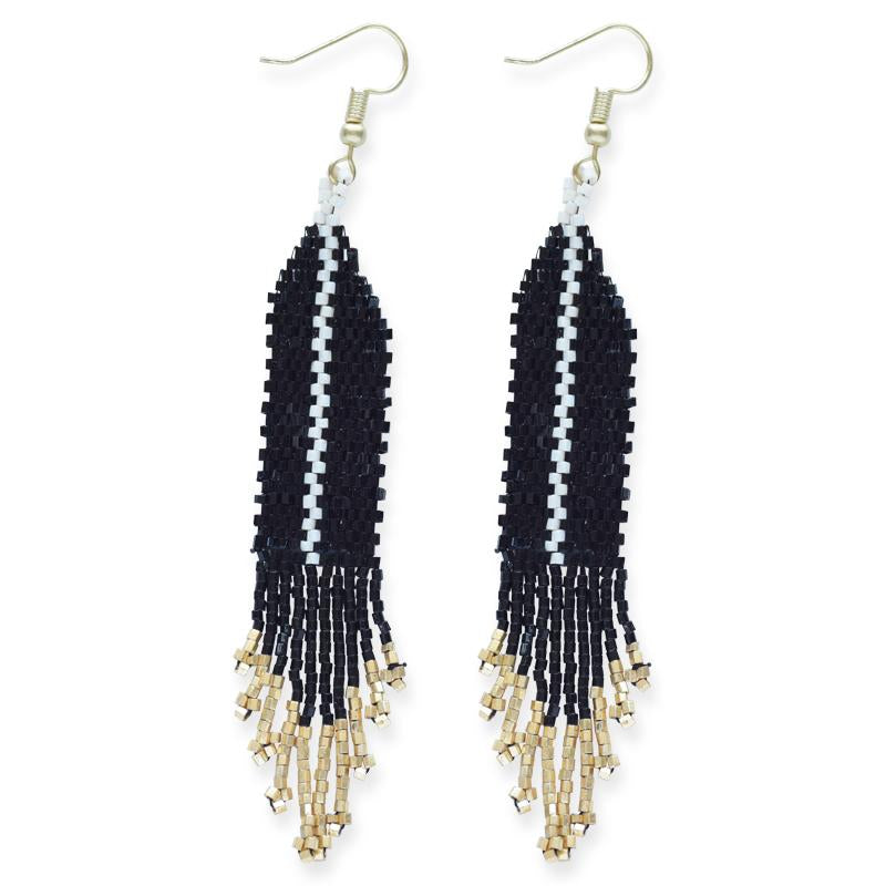 Black With Ivory Luxe Single Stripe With Fringe Earring