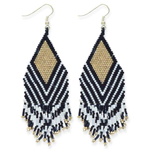 Black Ivory Stripe Luxe Earring With Fringe