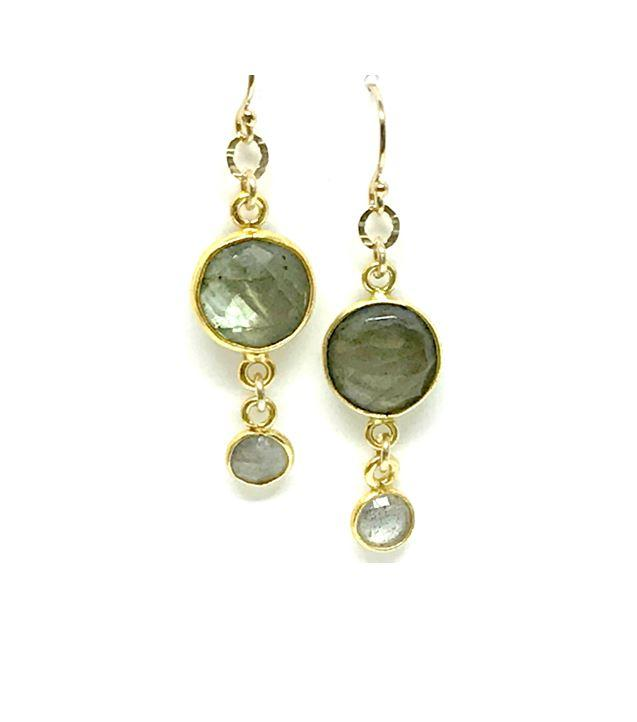Double Drop Labradorite Gold Earrings