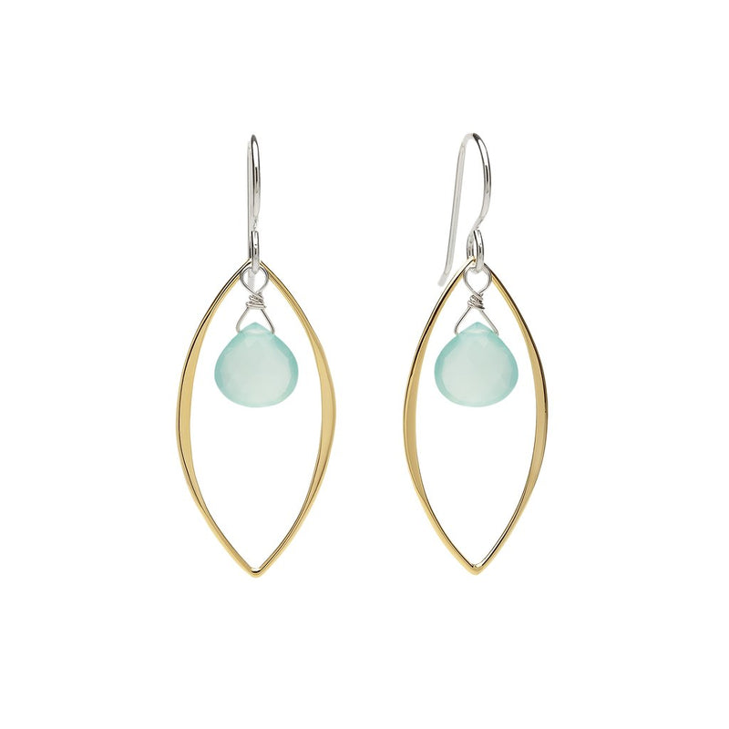 Ella Large Leaf Two Tone Aqua Chalcedony Earrings