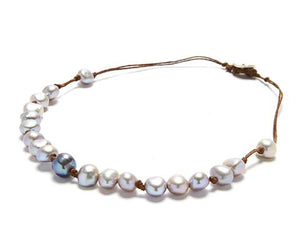 Lotta Chunky Necklace, Grey Pearl