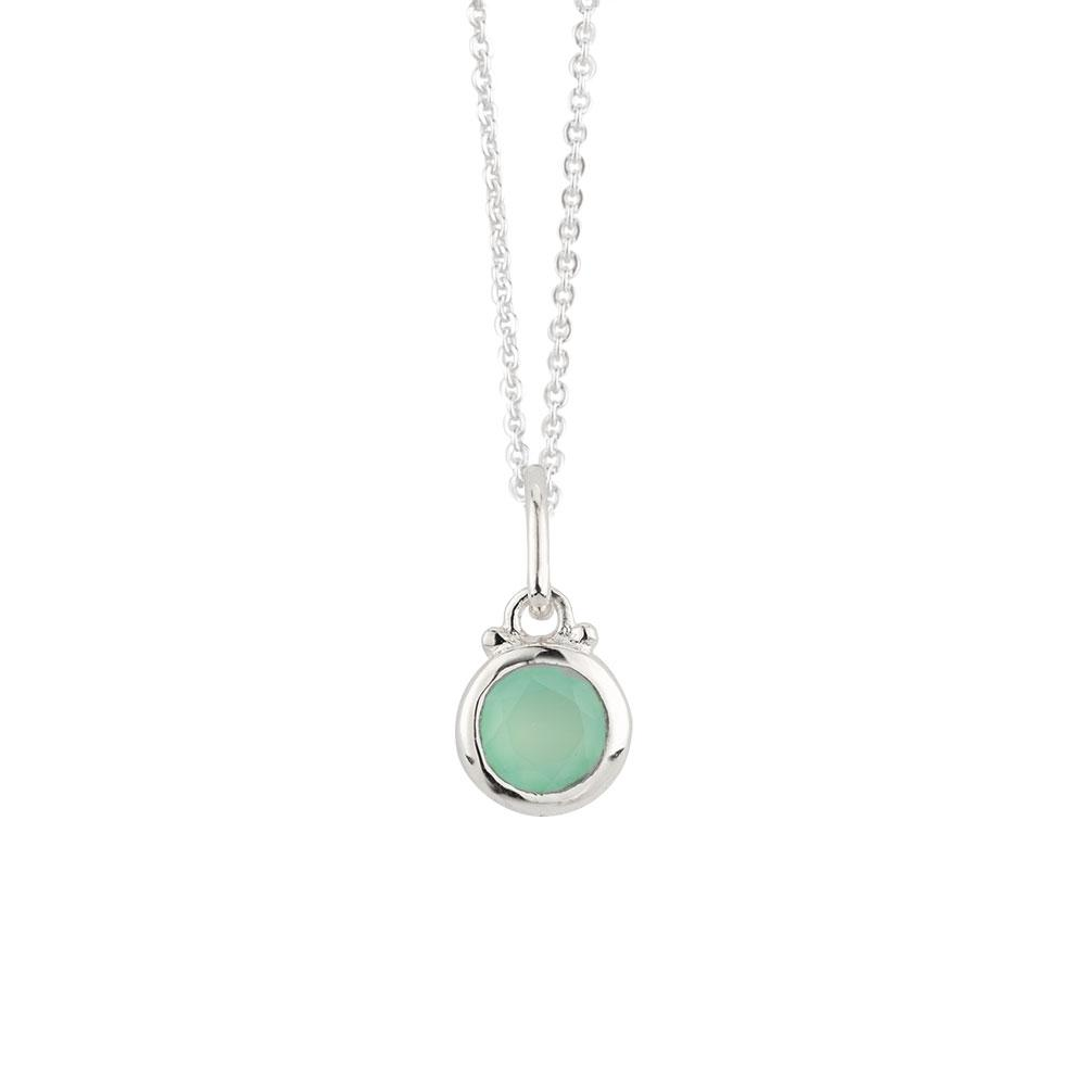 Aqua Chalcedony Charm Necklace