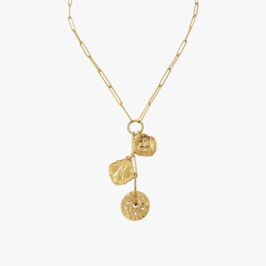 Combined Necklace Monedas Gold Beads