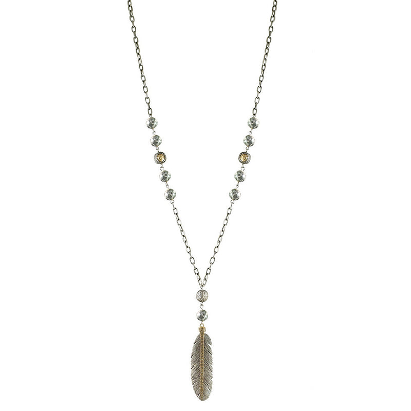 Vintage Silver Manila Crazy Lace Feather Necklace