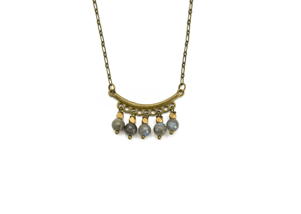 Beaded Bar Labradorite Necklace