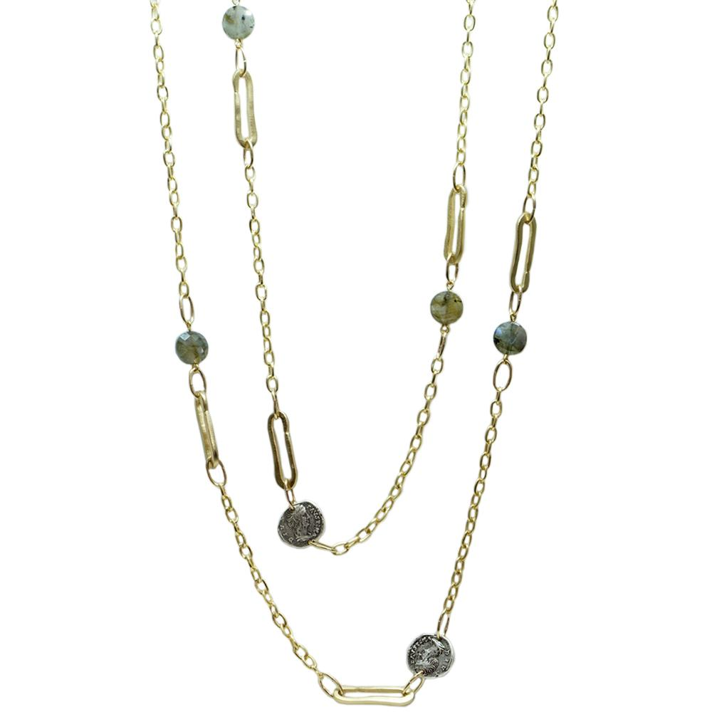 Gold & Labradorite Link & Coin Necklace