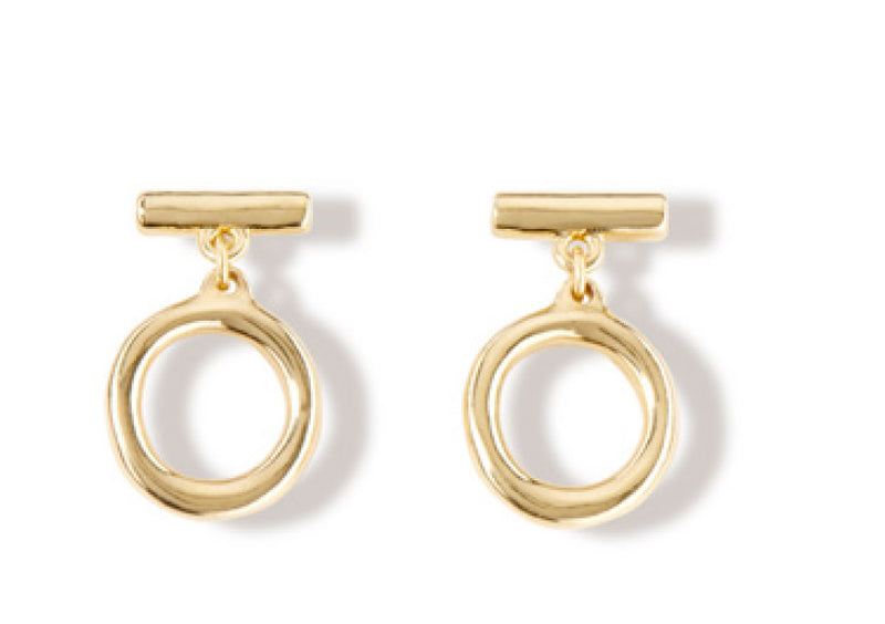 On/Off Earrings, Gold