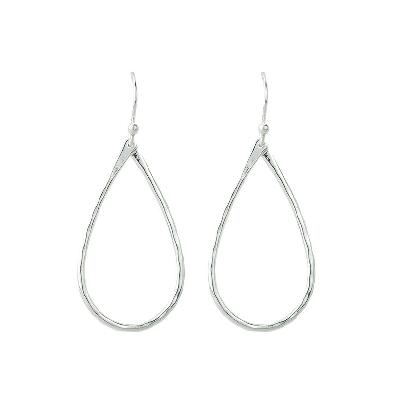 Hammered Open Tear Silver Earrings