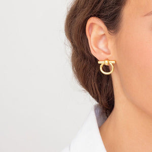 Small Omega Gold Earrings