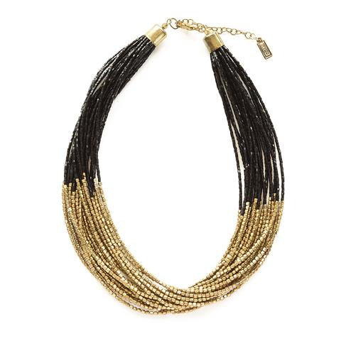 Black with Gold Multi-Strand Necklace