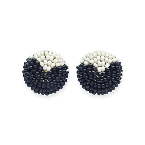 Black And White Button Post Earring