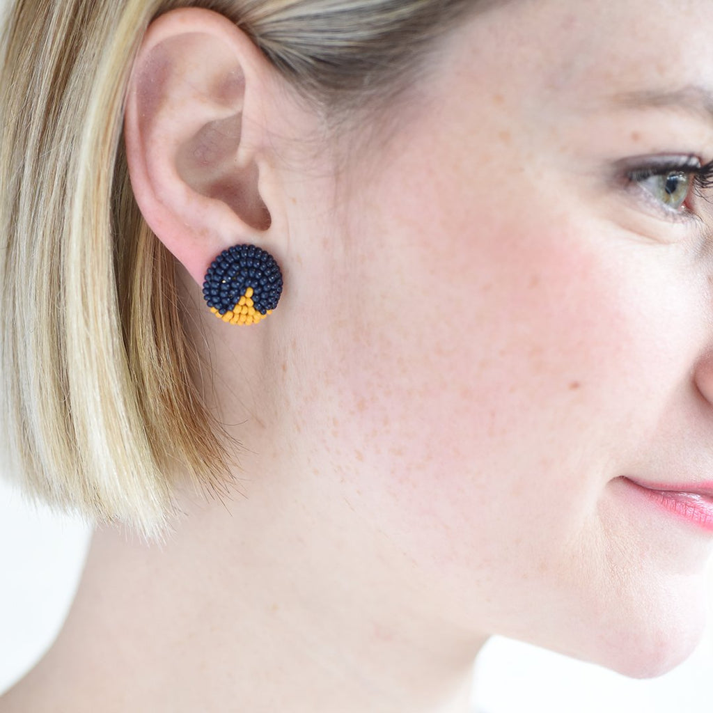 Navy And Yellow Seed Bead Button Post Earrings