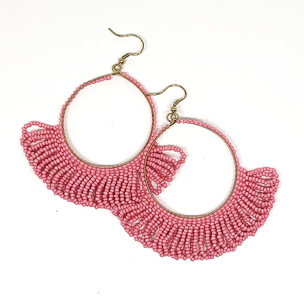 Seed Bead Earring Hoop with Fringe, Pink