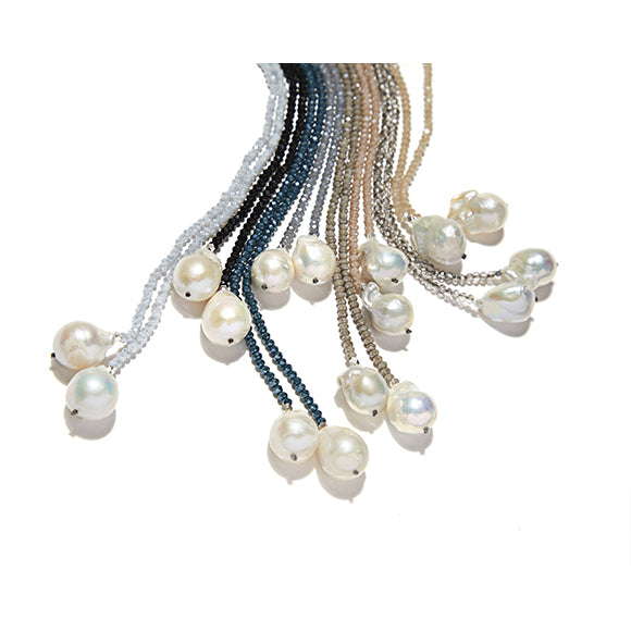 Petra Denim Crystals Lariat with Baroque Pearls