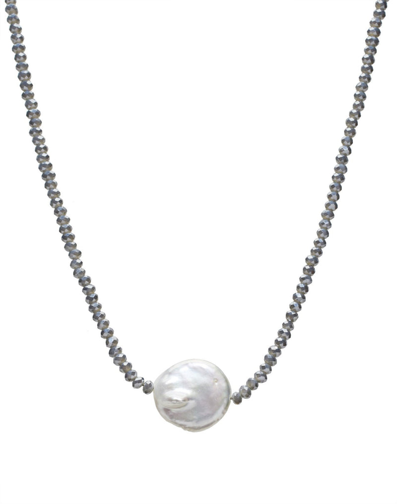 Petra Coin Necklace, Denim Crystal / Coin Pearl