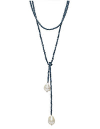 Petra Teal Crystals Lariat with Baroque Pearls