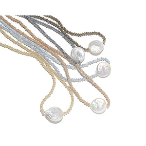 Petra Coin Necklace, Navy Crystal / Coin Pearl