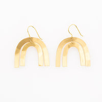 Matte Brass Rainbow Earrings