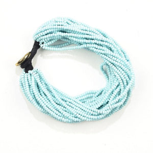 Seed Bead Multi-Layer Bracelet, Light Blue