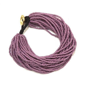 Seed Bead Multi-Layer Bracelet, Lilac