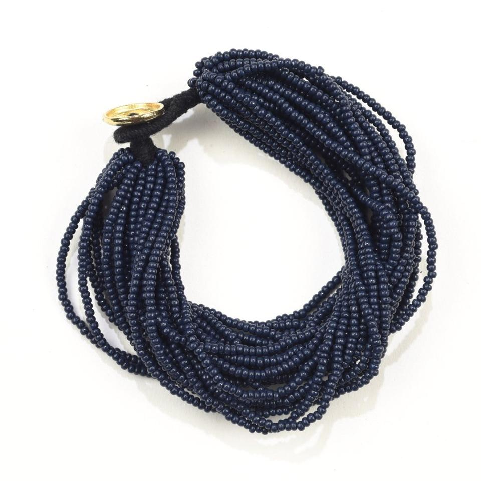 Navy Seed Bead Multi-Layer Bracelet